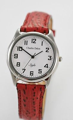 Charles Delon Watch Unisex Red Leather Stainless Steel Silver Battery Quartz