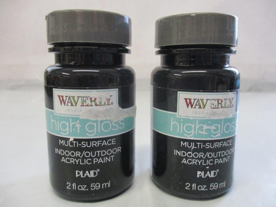 Waverly Inspirations High Gloss Acrylic Paint Indoor/Outdoor Black 2 oz.- 2 Pack