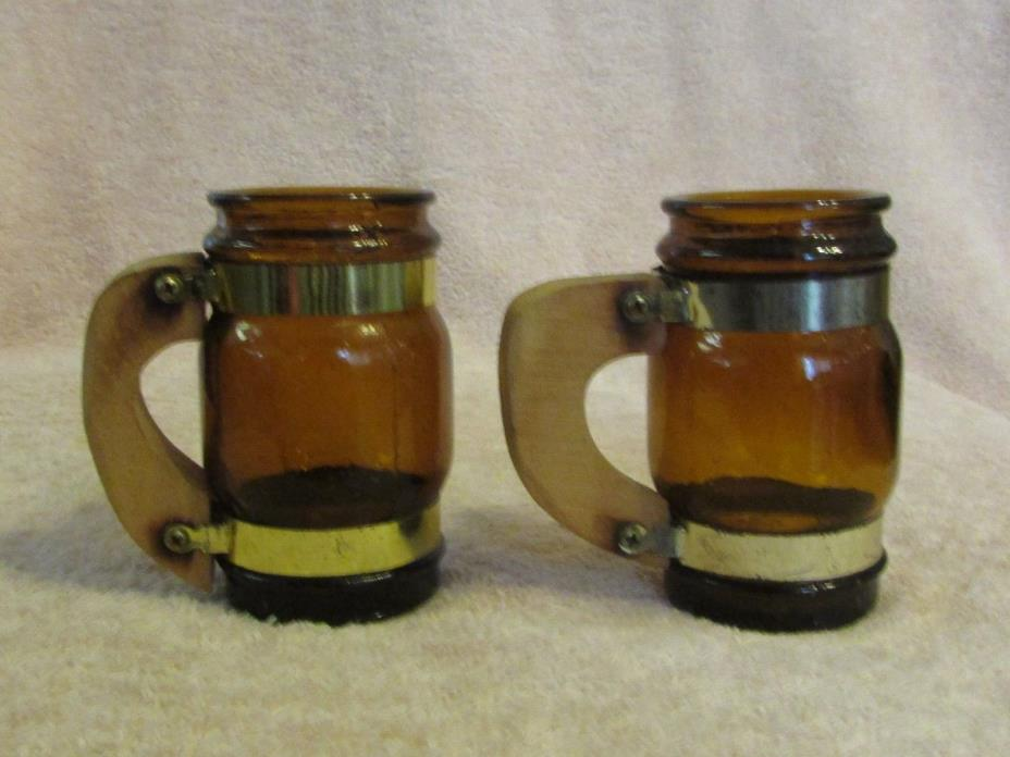 2 Amber Glass Whiskey Miniature Barrel Shot Glass Beer Mug Toothpick Barware