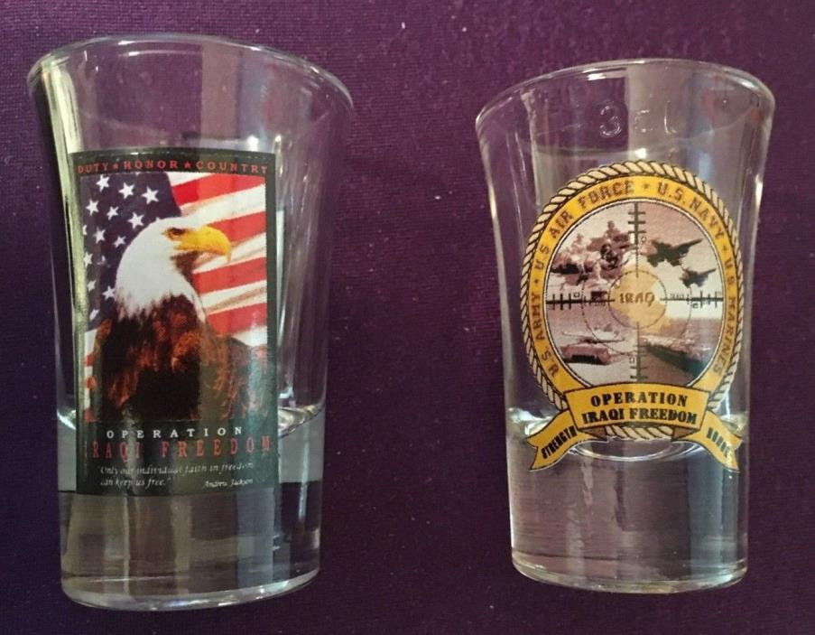 PAIR of OPERATION IRAQI FREEDOM SHOT GLASSES, EAGLE/FLAG & ALL FORCES