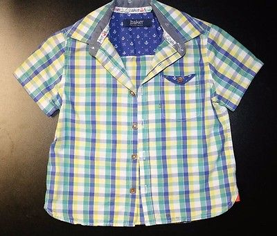 Boys Baker by Ted Baker Plaid Button Front Dress Shirt Size 2y or 2T EUC!!