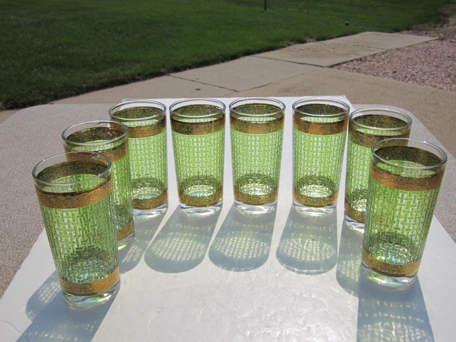Set of 8 Retro 60's Green With Gold Bands 10 Ounce Bar Cocktail Glasses