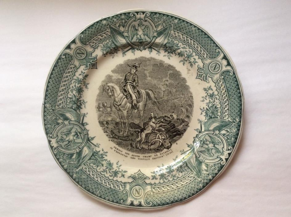 Antique French Sarreguemines Faience Napoleon and Dog Plate 1880-1930, ff227
