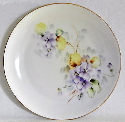 Hand Painted Purple Pansies Floral German Porcelain Plate, c. 1850-1899, Signed