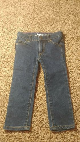 Crazy 8 Girl Dark Wash Skinny Jeans Size 2T Adjustable Waist Toddler