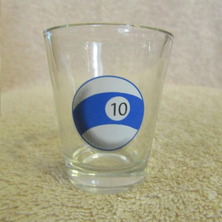 Billiard Pool # 10 Ball Shot Glass CLEAR GLASS