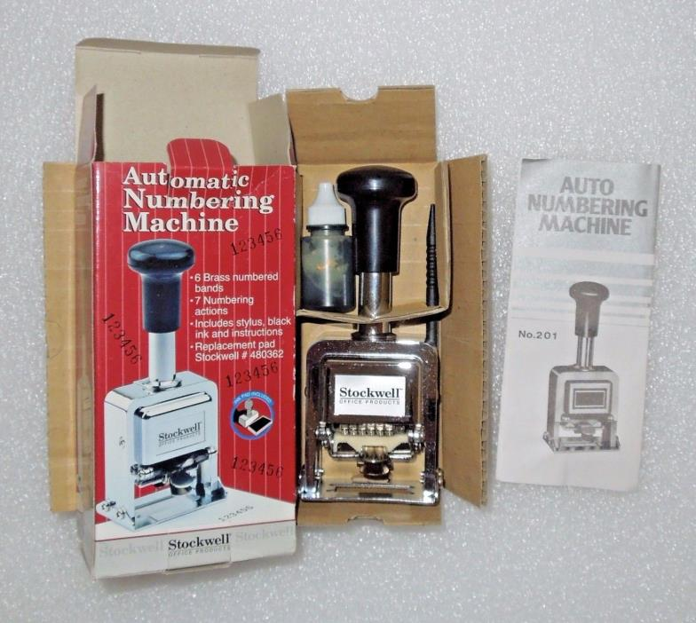 NEW OLD STOCK Stockwell 6 Wheel Automatic Numbering Machine in Original Box