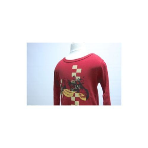 APPAMAN NWT  Red Boys Long Sleeve Cotton T-Shirt W Motorcycle W/ Sidecar Sz 2T
