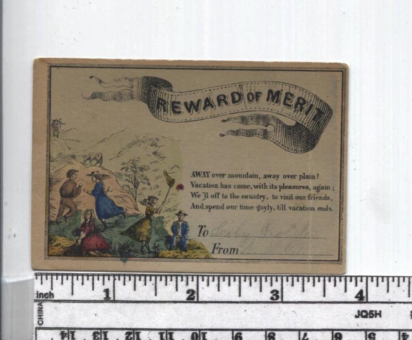 Antique Reward of Merit - Hand Colored - Kids having fun - Series in RM Book