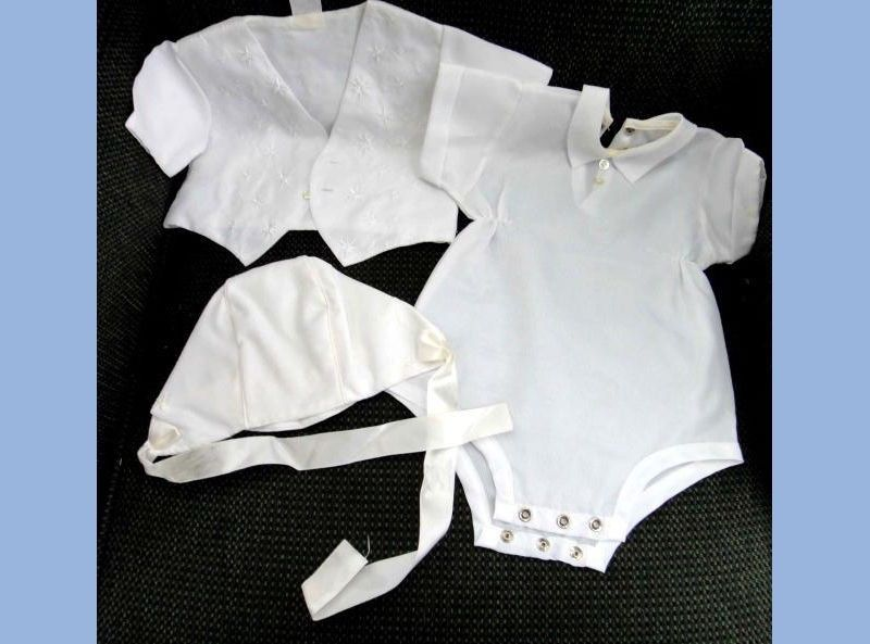vintage BOYS CHRISTENING SUIT baby doll BAPTISM 3 pc