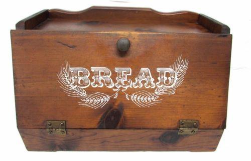 VINTAGE WOOD wooden breadbox BREAD BOX 1984