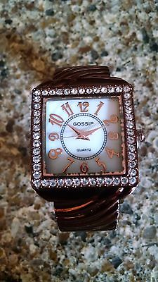 Women's Gossip quartz watch copper cuff band rhinestones square new in box gift