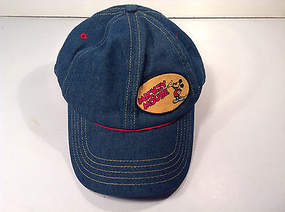 RETRO DESIGN DISNEY MICKEY MOUSE HAT-DENIM-BASEBALL STYLE-CARTOON-CAP