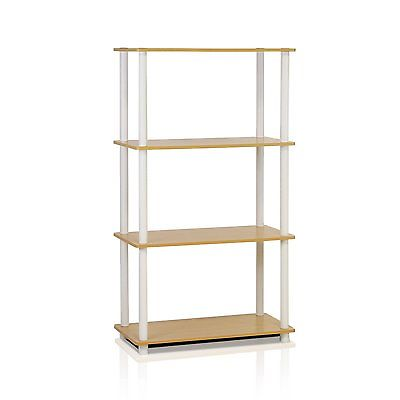 Furinno 99557BE/WH Turn-N-Tube 4-Tier Compact Multipurpose Shelf, Beech/White