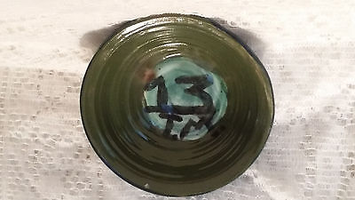 Hand Crafted Studio Pottery Bowl Signed On the Bottom Tracy Green Blue & Black