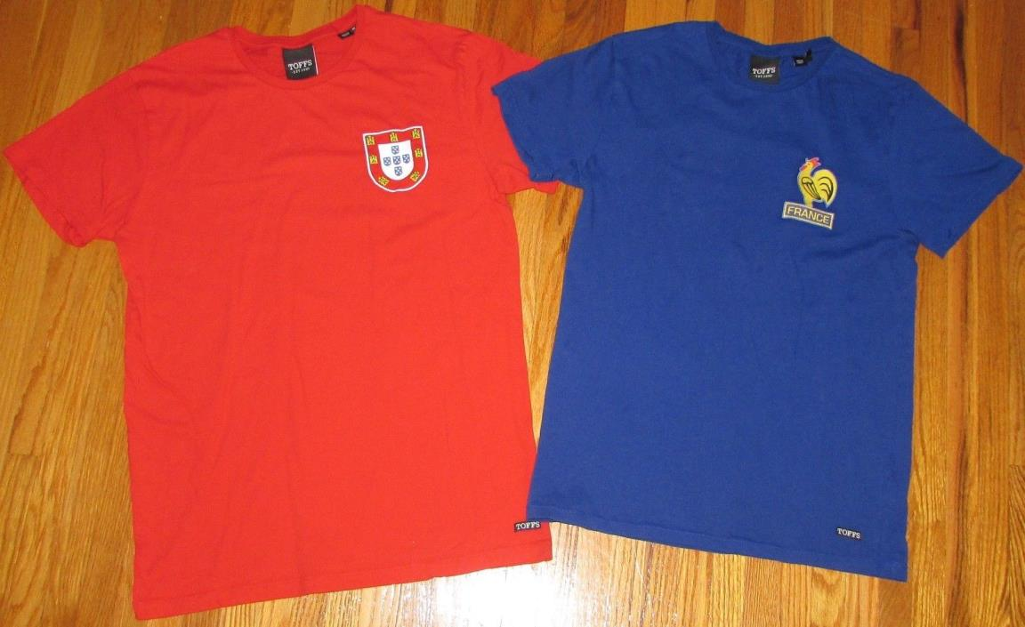 Lot of 2 Toffs Retro Soccer Football Jersey T-Shirts Portugal/Med France/Small