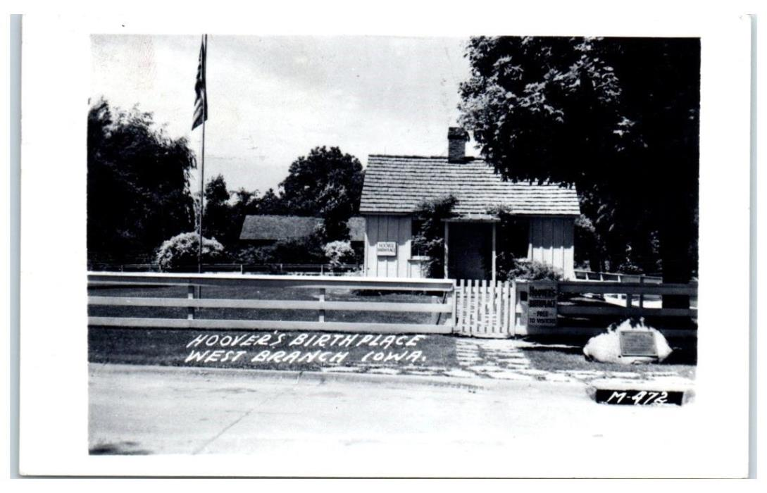 1954 Herbert Hoover's Birthplace, West Branch, IA RPPC Real Photo Postcard
