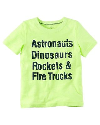 Carter's Boys 4T YELLOW T-Shirt Astronauts Dinosaurs Rockets NWT Short Sleeve