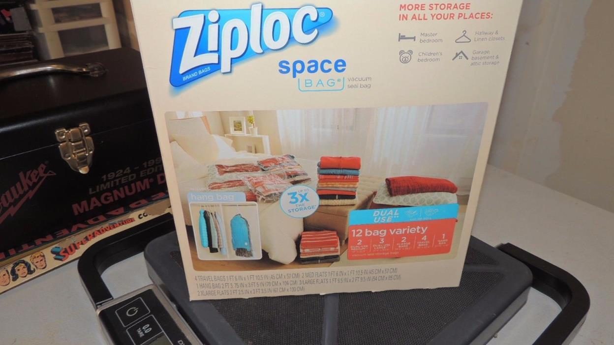Ziploc Space Bag Vacuum Seal Airtight Reusable 12 Variety New Free Shipping