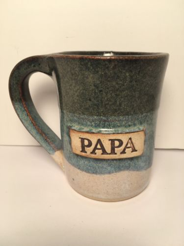 Stegall Handcrafted Art Pottery Stoneware Cup Mug - Papa- Signed Glazed