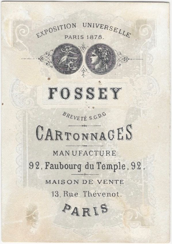 1880s Trade Card for a French Cardboard / Box Manufacturer