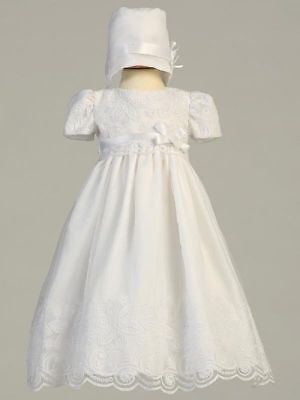 Infant Girls White Christening Dress Embroidered Organza Bonnet Candice 3-6 Mos