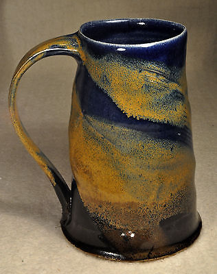 Artist Hand Thrown Stein Beer Mug w/ Mixture of Color & Shape Signed Bar Ware