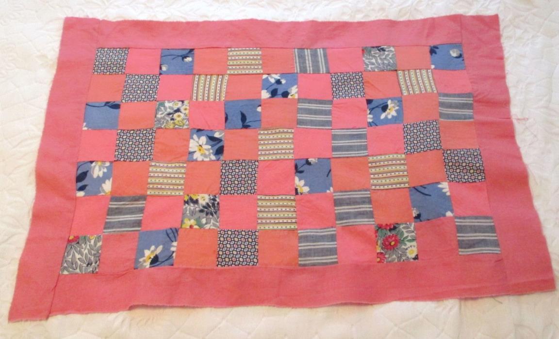 Vtg Pink Patchwork Quilt Top Pillow All Flour Sack All Hand Sewn