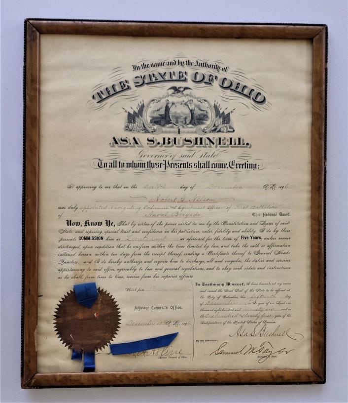 1896 antique ASA S. BUCHNER ohio gov signed ROBERT NELSON naval brigade