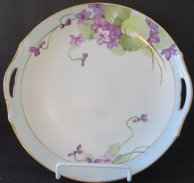 CAKE PLATE, Hand Painted, Marked, Vintage, Lovely Violets on White