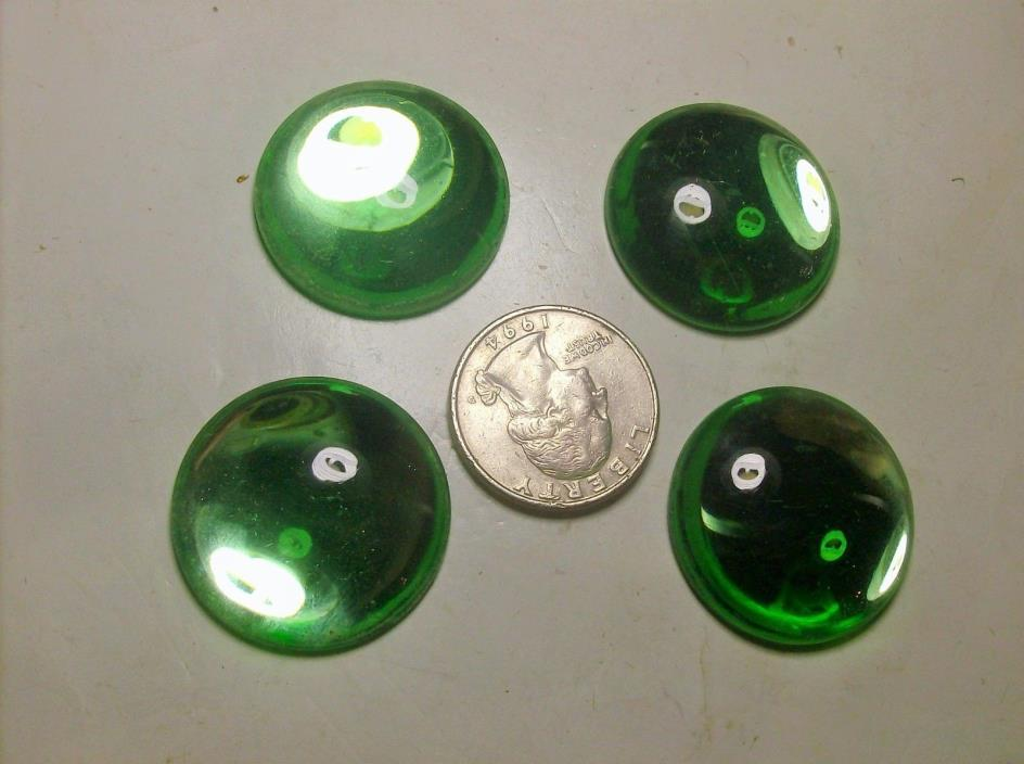 4 LARGE LIME CABACHON FLAT GLASS RHINESTONES----30,s-----#12---WOWWWW--VINTAGE
