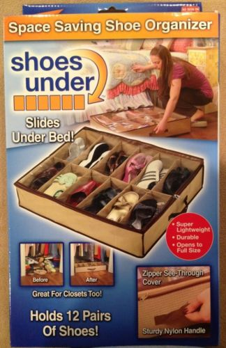 Space-Saving Shoe Organizer, Slides Under Bed, Holds 12 Pairs Shoes or Misc, NIB