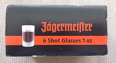 Jagermeister Shot Glasse - Six (6) Frosted glass 1 fl oz  NIB Made in Germany
