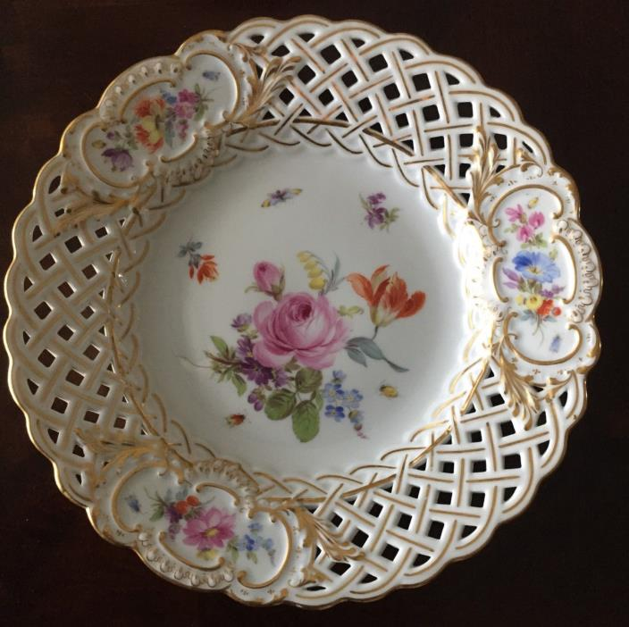 Set of Eight Meissen Plates Reticulated 8 1/4