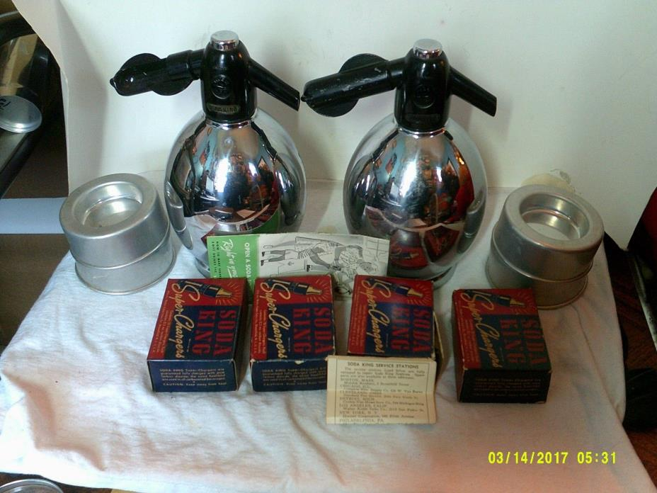 VINTAGE LATE DECO 1940 PAIR OF SODA KING CHROME SODA SYPHONS w/ CHARGERS & BOOK