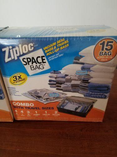 NEW Ziploc Space Bag 15 Vacuum Seal Airtight Reusable Variety Size