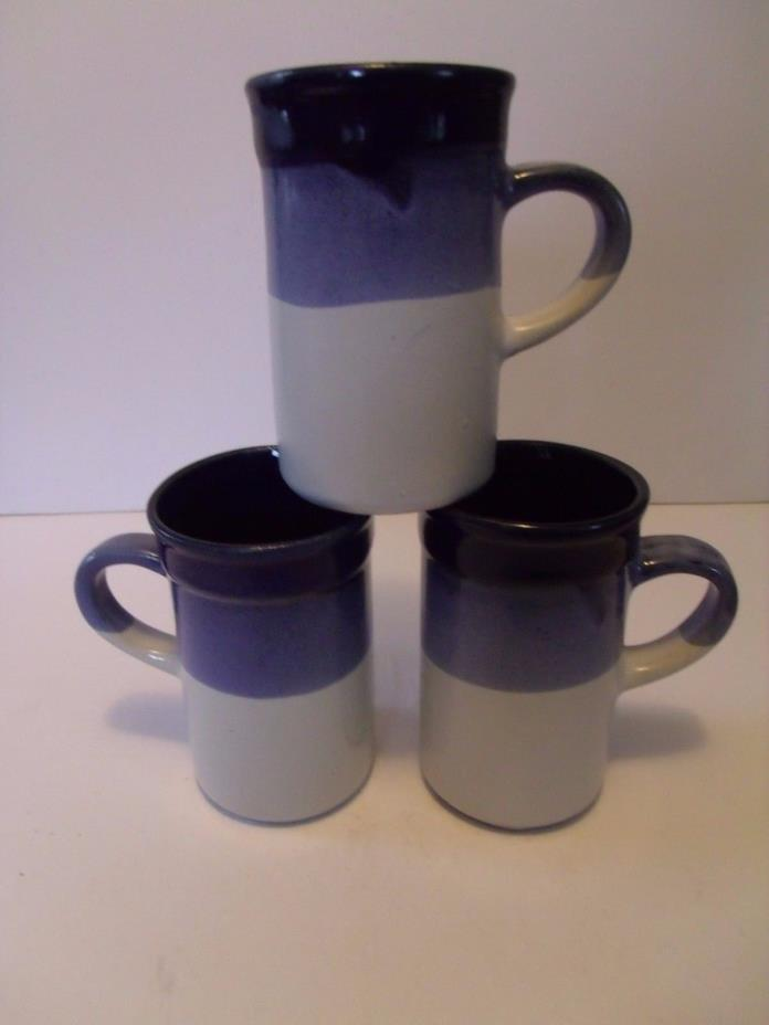 SET of 3 - Vintage STUDIO POTTERY Drip Glaze CUPS MUGS - 8 oz.