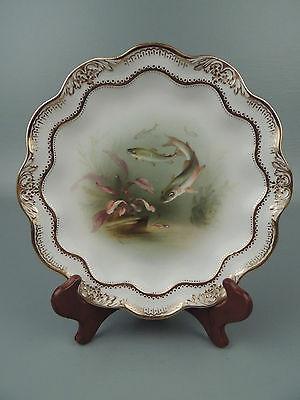 George Jones Scalloped Cabinet Fish Plate hand painted Birbeck #6 Haddock PC