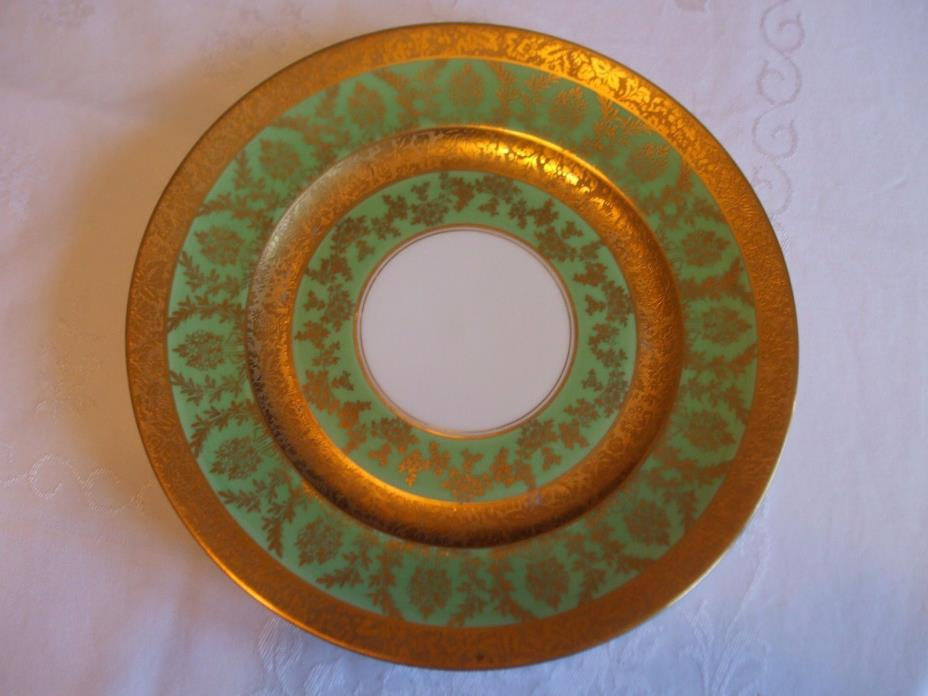ANTIQUE MINTON 24K GOLD ENCRUSTED & GREEN DINNER PLATE(S) 10-3/4