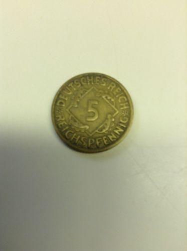 1924 J Germany 5 Reichspfennig - Irid. Toned  - SCARCE