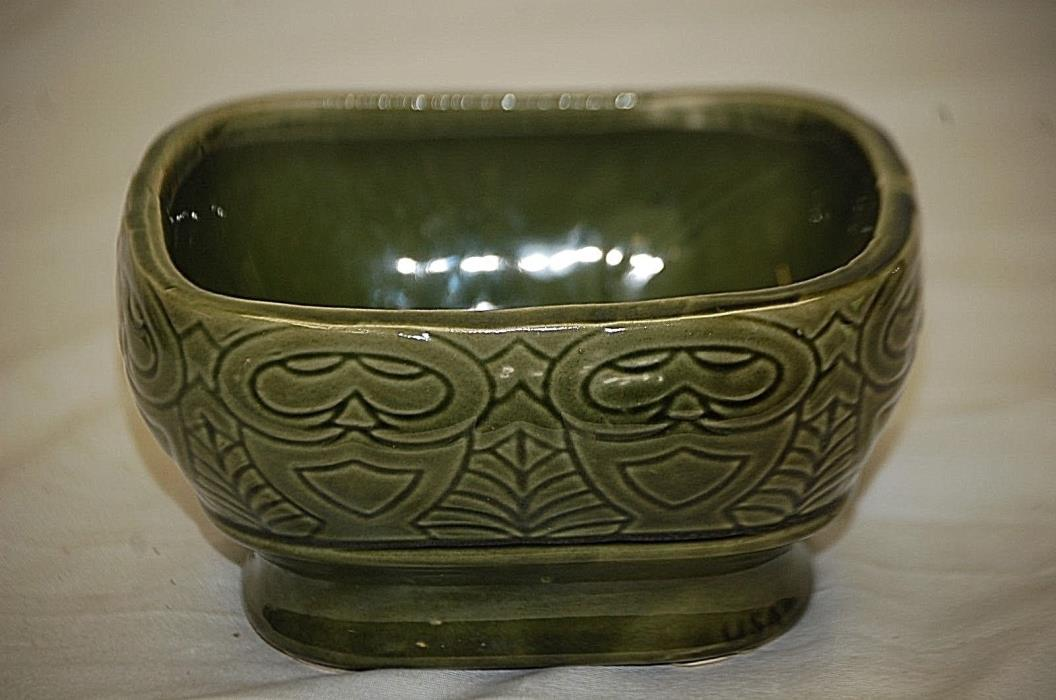 Vintage Green Art Pottery Windowsill Planter Abstract Design Unknown Maker USA