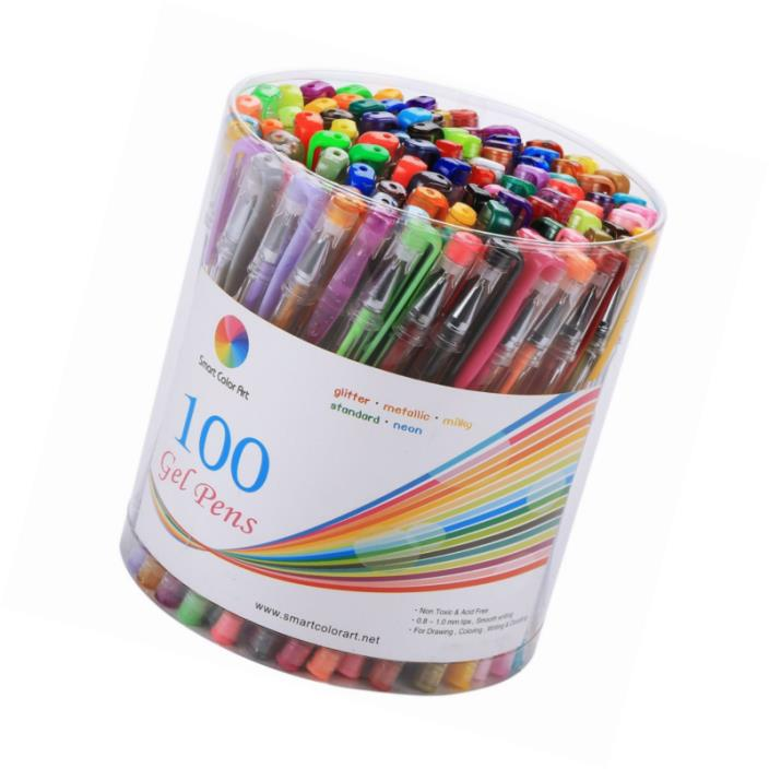Smart Color Art 100 Colors Gel Pens Set for Adult Coloring Books Drawing Paintin