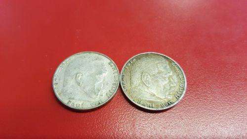 Lot of 2 1937 F 2 mark German WWII Silver Coin Third Reich Reichsmark
