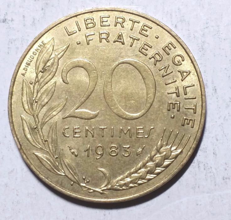 1983 20 Centimes France Coin