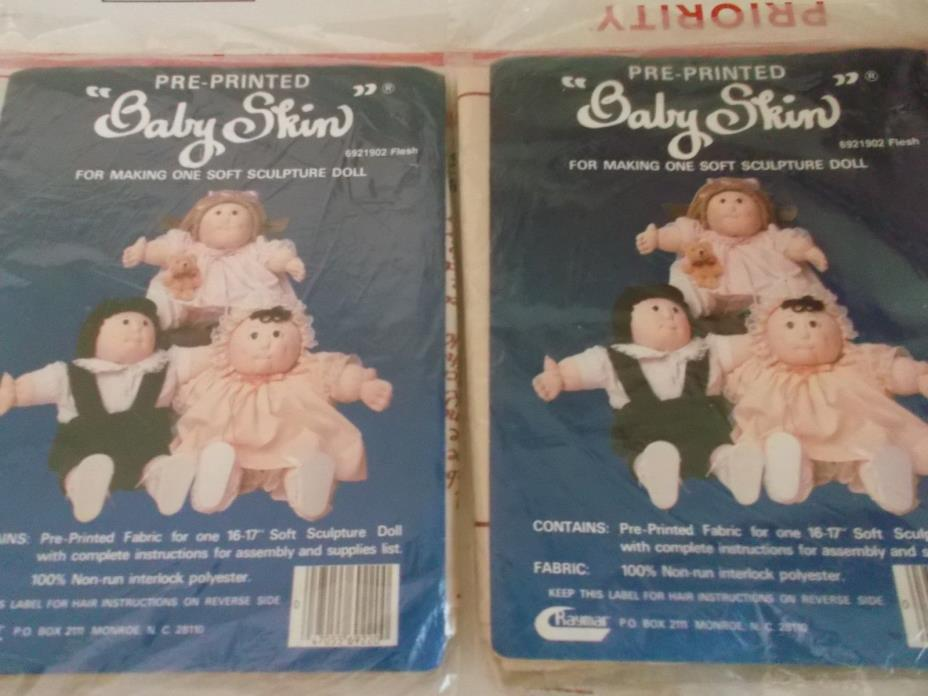 Lot of 2 Pre-Printed Baby Skin  For One Soft Sculpture Doll by Raymar NEW