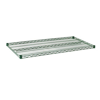 Open Grid Commercial Grade Carbon Steel Wire Shelf Epoxy Green 48