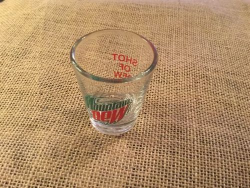 New Mtn Dew Shot Glass ~ MOUNTAIN DEW SODA LOGO ON A CLEAR  SHOT GLASS