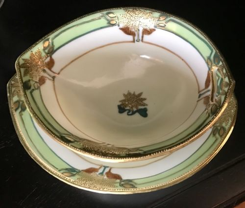 Art Nouveau IE & C Japan Green & Embossed Gold Floral Bowl Plate Tray Set c1900