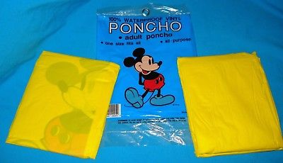 Vintage Disney World Mickey Mouse Adult Size Poncho Lot Of 2