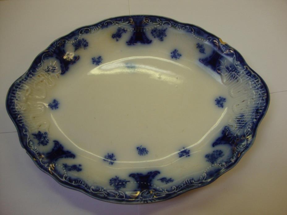 "Johnson Bros. England ""CLARISSA"" Antique Flow Blue Large Oval Porcelain Platter-"